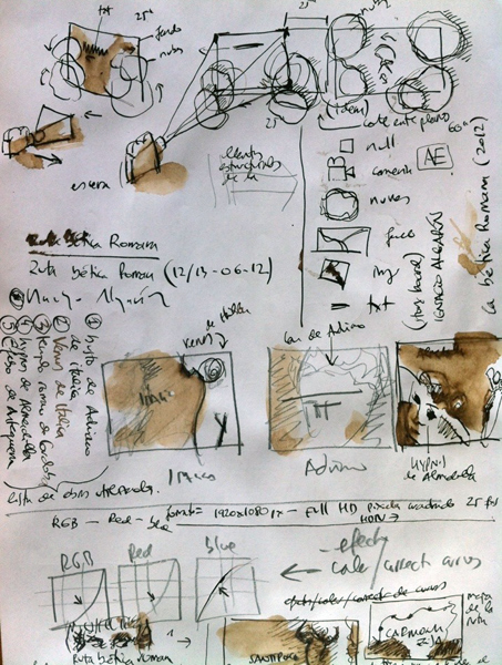 StoryBoard de la ruta betica romana ialgarin, plumilla papel tinta A4, Sevilla julio 2012